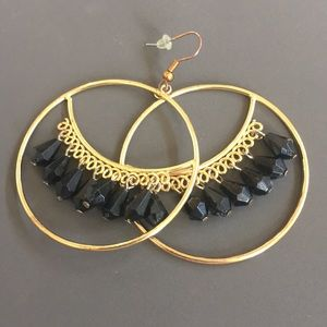 Medium Hoop Earring with Black